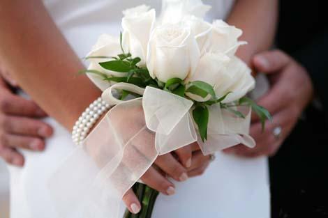 Букет невесты от гостей свадьбы